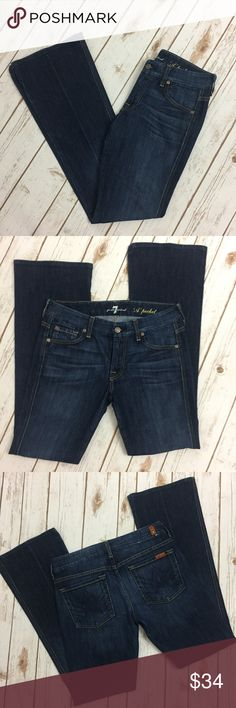 """7 For All Mankind A Pocket Dark Wash Flare Jeans 7 For All Mankind. Size 27. """"A Pocket"""" Slight Flare. Dark wash. Signature A stitching on back pockets. Slight Flare. Mid Rise. See photographs for measurements. Excellent Preowned Condition. 7 For All Mankind Jeans Flare & Wide Leg"""