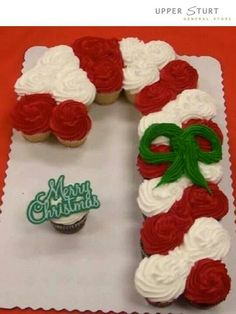 Candy cane cupcake pull apart
