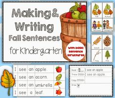 Making and Writing Fall Sentences for Pre-K and K, includes vocab cards, sentence construction work with self-correction sheet, instructions and follow up printables.