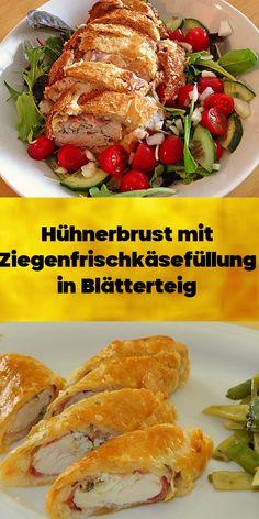 Hühnerbrust mit Ziegenfrischkäsefüllung in Blätterteig - schmeckt auch kalt sehr gut. Beef, Food, Meat, Cold, Food Portions, Food Food, Meal, Essen, Steaks