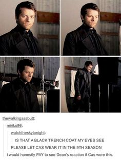 Promo!Castiel's magnificent black trenchcoat