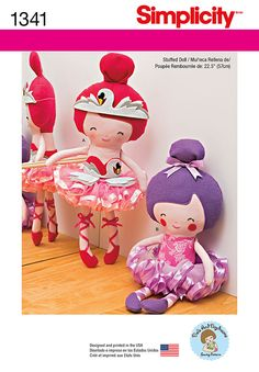 "Sew adorable 22.5"" ballerina dolls with thick or thin lace ballet slippers with optional swan headband and bodice. Both have the most perfect pull on tutu."