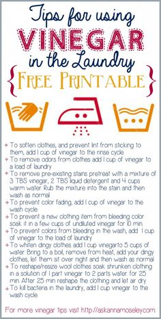 Tips for using Vinegar in the laundry FREE printable - Ask Anna