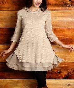 Another great find on #zulily! Mocha Cable-Knit Hooded Ruffle-Hem Tunic - Plus #zulilyfinds