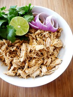 Tex mex shredded chicken: just made this in the slow cooker, sooo delicious