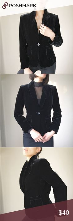 """Velvet revival black blazer jacket NEW Velvet blazer jacket . Fully lined. Button front with pockets. delicate pleated back detail. Collar blazer.  All measurements taken flat lay. Shoulder 15"""" length :23.5"""" , bust 17.5"""", waist:15.5"""". Arm sleeve 22.5"""". Shell75%rayon 25%nylon. Lining100% polyester. 👉🏼Follow me on  📸INSTAGRAM: @chic_bomb  and 💁🏻📘FACEBOOK: @thechicbomb CHICBOMB Jackets & Coats Blazers"""