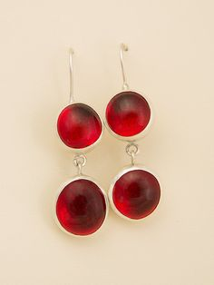 Sterling silver earrings with double fire red glasses by Giousouri, $73.00