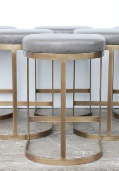 awesome Milo Baughman Burnished Brass Bar Stools in Grey Leather | 1stdibs.com by http://www.top-homedecorideas.space/stools/milo-baughman-burnished-brass-bar-stools-in-grey-leather-1stdibs-com/