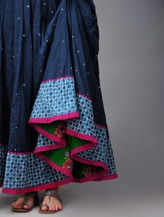 Serp Mukaish Kalidar Cotton Skirt (Love the peekaboo at the seam! Indian Fashion, Boho Fashion, Girl Fashion, Lakme Fashion Week, Fashion Moda, Indian Attire, Indian Wear, Indian Dresses, Indian Outfits