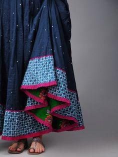 Serp Mukaish Kalidar Cotton Skirt (Free Size)
