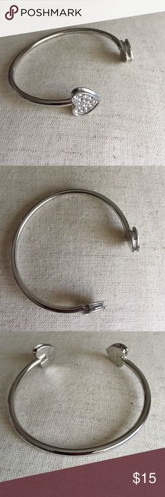 """Crystal heart bangle bracelet My daughter went nuts once at bauble bar and bought bracelets she can't wear because she barely has a 6"""" wrist like me. This would best fit 6.5""""-7"""". Baublebar Jewelry Bracelets"""