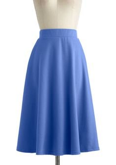 A O-Sway Skirt in Blue Skies - Jersey, Long, Blue, Solid, Work, Casual, Vintage Inspired