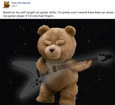 #ted #macfarlane #guitar Ted Bear, Guitar, Toys, Funny, Movies, Gifts, Animals, Facebook Timeline, Twitter