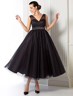 una línea / princesa vestido con cuello en V de té de longitud de tul noche (1301055) - EUR € 96.95