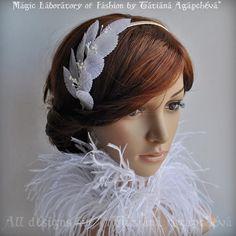 Headband Fascinator Silk Leaves Bridal White Ivory by TianaCHE, $70.00