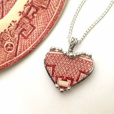 Broken china jewelry - heart shaped necklace pendant - antique red pink willow broken china jewelry by dishfunctionldesigns on Etsy