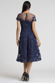 Navy Lace Fit & Flare Dress | Teri Jon