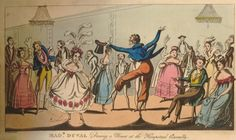 Caricature dancing scene at the Hampstead Assembly, north London; with Madame Duval, from Frances Burney's 'Evelina', dancing opposite a gentleman striking an elaborate pose; she wears dress with bright flowers, low neck, with large flowers and feathers in her hair; he holds out his top hat, as the rest of the assembly looks on.  1822 Etching and aquatint with hand-colouring