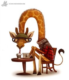 Daily Painting Hipster Giraffe by Cryptid-Creations Character Concept, Concept Art, Character Design, Cute Illustration, Character Illustration, Cute Drawings, Animal Drawings, Animals Beautiful, Cute Animals