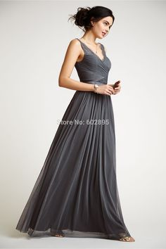 Find More Bridesmaid Dresses Information about Elegant pleated chiffon lace v neck dark grey bridesmaid dresses for adult long wedding guests dress beach bridesmaid gown 2015,High Quality lace sheath wedding dress,China dress smile Suppliers, Cheap lace girl dress from youthbridal on Aliexpress.com