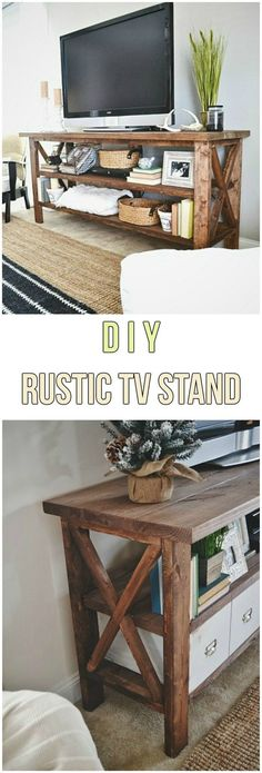 This is just for you who has a DIY TV Stand ideas in the house. Inspire: tv stand ideas for small living room, awesome tv stand ideas, tv stand ideas creative, tv stand ideas for bedroom, antique tv stand ideas Tv Decor, Diy Home Decor Bedroom, Diy Tv Stand, Rustic Living Room Furniture, Rustic Furniture, Rustic Tv Stand, Rustic Living Room, Diy Tv, Living Room Tv Stand
