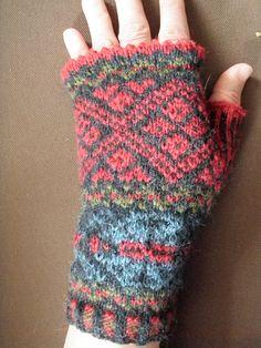 Fair Isle fingerless mittens by Malin Linderborg