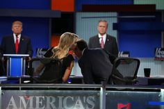 Megyn Kelly of Fox News whispered to her colleague Chris Wallace at the first Republican presidential debate in Cleveland on Thursday.