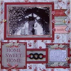 Vintage layouts, Heritage layout, My Mind's Eye, One photo layout, Frugal scrapbooking