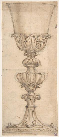 Giovanni Battista Foggini | Design for a Chalice (recto); Design for the Base of a Vase (verso) | The Met