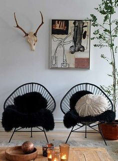 cool chairs. I love this wall.