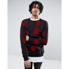 Criminal Damage Sweatshirt In Black With Rose Print ($33) ❤ liked on Polyvore featuring men's fashion, men's clothing, men's hoodies, men's sweatshirts, black, men's graphic crew neck sweatshirts, mens graphic sweatshirts, mens sweatshirts and hoodies, mens hoodies and sweatshirts and tall mens sweatshirts