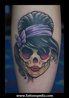 Girly Sugar Skull Tattoo 1.jpg (312×446)