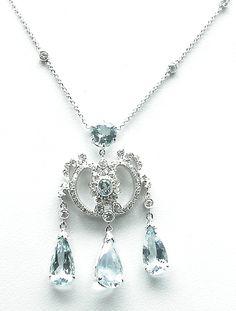 Edwardian Style 18k White Gold Aquamarine Diamond Necklace | New York Estate Jewelry | Israel Rose