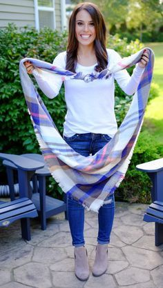"How to tie a blanket scarf. Step by step with my ""trick"" on making it look and feel less bulky! Plus 3 more ways to wear it!"