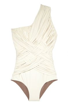 Off-white one-shoulder one-piece by Clube Bossa