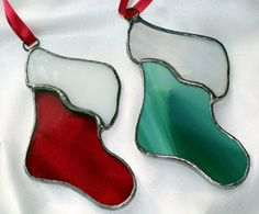 Stained Glass Christmas Decorations Set by RomanickStainedGlass