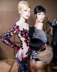 Gigi and Bella Hadid Backstage Modeling Photos - Moschino