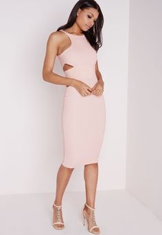 Missguided - Ribbed Cut Out Midi Dress Blush