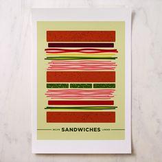 BKLYN Larder - Bklyn Larder Sandwiches Poster, $20.00 (http://www.bklynlarder.com/bklyn-larder-sandwiches-poster/)