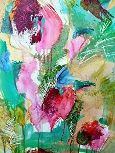 "First Bloom,  Acrylic on canvas, 24"" x 30"" $750.00 unframed $850.00 framed"