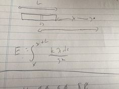 1.   This is the setup to answer page 41 in the spiral physics homework assigned to us over the weekend.  The upper bound was x + L because that was the furthest point from the point of interest and the lower bound was just x because that is the closest point we can be to the point of interest.  The part inside the integral comes from the electric field formula in the spiral physics reading.  David showed us how we need to make these problems easier on ourselves.