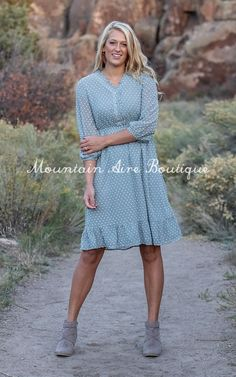 The Brooke -Blue – Mountain Aire Boutique Nursing Friendly Dress, Swiss Dot, Blue Mountain, Boutique Clothing, Shirt Dress, Sleeves, Fabric, How To Wear, Shirts