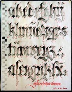 Lettering - handwritten alphabet - calligraphy directional instructions