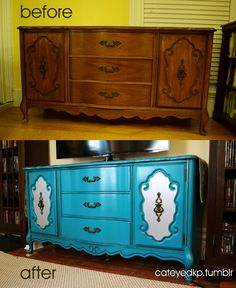 TV stand makeover is done! Craigslist buffet-turned-TV-console.  cateyedKP