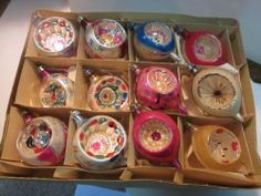 12 Vintage German Germany Glass Indent Mica Christmas Tree Ornaments in Box