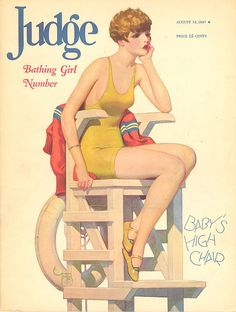 Vintage August 18 1927 Judge Magazine with Pin Up Bathing Girl Illustration Vintage Advertisements, Vintage Ads, Vintage Images, Vintage Prints, Vintage Vogue, Old Magazines, Vintage Magazines, Myrna Loy, Pin Up