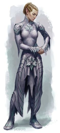 And another from Wizards. An elf carefully checking her full set of elven chain.    By Todd Lockwood, primary concept artist for Third Edition D&D (Wizards of the Coast).