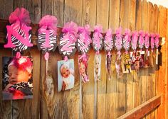 Zebra First Year Banner, Pink Zebra Flower Banner, First Birthday Party, Picture Banner, Age Banner, Number Banner. $14.99, via Etsy.