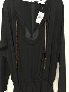 Michael Kors Luxurious Black Gold Chain Women's Jumpsuit Plus Size 2X NWT $170 #MichaelKors #Jumpsuit