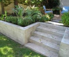 New garden diy projects landscaping retaining walls Ideas Retaining Wall Fence, Concrete Block Retaining Wall, Landscaping Retaining Walls, Concrete Stairs, Concrete Blocks, Backyard Landscaping, Retaining Wall Gardens, Retaining Wall With Steps, Sleeper Retaining Wall